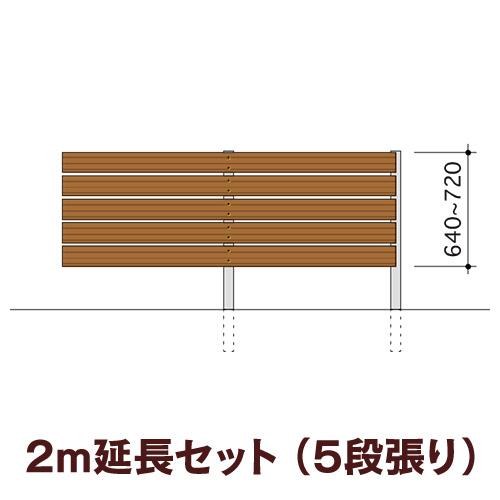 木目調樹脂フェンス 【ディーズガーデン アルファウッド横張りタイプ】サイズ:幅120mm【2m延長セット】5段張り(※部材セットのため、お客様による組立は必要です)