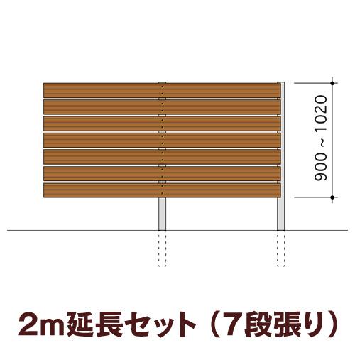 木目調樹脂フェンス 【ディーズガーデン アルファウッド横張りタイプ】サイズ:幅120mm【2m延長セット】7段張り(※部材セットのため、お客様による組立は必要です)