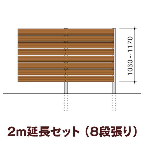 木目調樹脂フェンス 【ディーズガーデン アルファウッド横張りタイプ】サイズ:幅120mm【2m延長セット】8段張り(※部材セットのため、お客様による組立は必要です)
