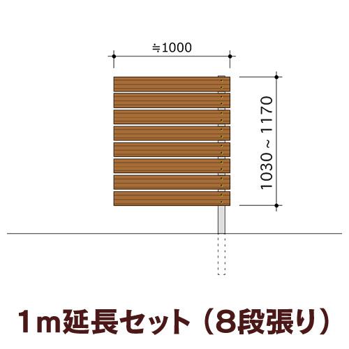 木目調樹脂フェンス 【ディーズガーデン アルファウッド横張りタイプ】サイズ:幅120mm【1m延長セット】8段張り(※部材セットのため、お客様による組立は必要です)