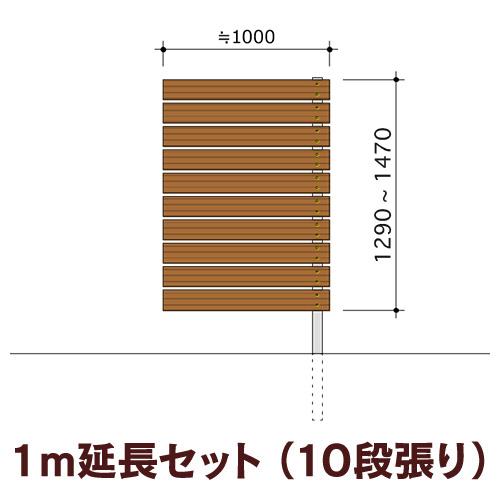 木目調樹脂フェンス 【ディーズガーデン アルファウッド横張りタイプ】サイズ:幅120mm【1m延長セット】10段張り(※部材セットのため、お客様による組立は必要です)