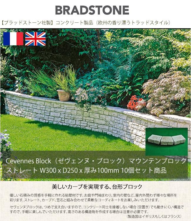 【ブラッドストーン社製】CevennesBlock/セヴェンヌ・ブロック/マウンテンブロック/ストレート形状:サイズW300xD250xH100mm(10個セット商品)