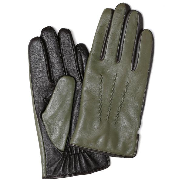 日本の老舗手袋メーカーKURODA(クロダ) 日本製 革手袋 ラムスキン(仔羊革) グリーン カーキ 緑色 メンズ 本革 男性 紳士用 手袋
