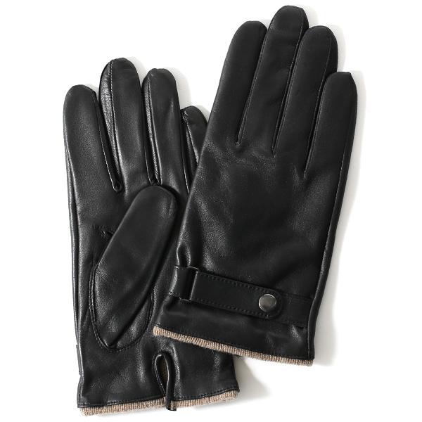 手袋 メンズ 本革 レザー カシミヤ混 カシミア混 ブラック 黒 黒色 日本製 手袋 ラムスキン(仔羊革) グローブ 皮 てぶくろ [KURODA(クロダ)]