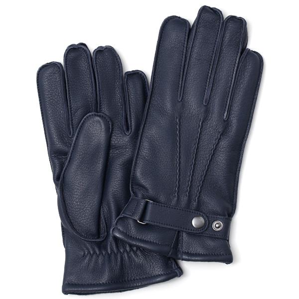 KURODA(クロダ) ディアスキン(鹿革) 本革 手袋 メンズ ブルー ネイビー 青色 丈夫 頑丈 耐水性 てぶくろ 皮 グローブ