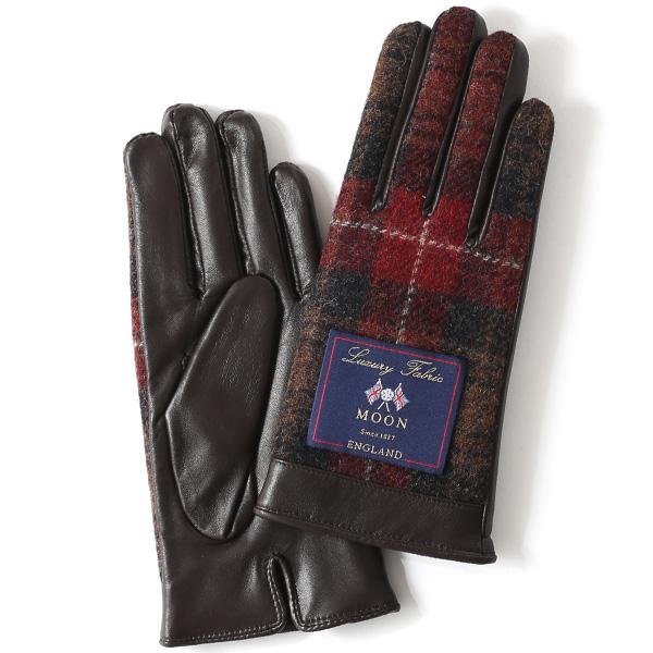 MOON(ムーン) 手袋 レディース ブランド 本革 スマホ対応 レッド ワイン 赤色 スマホ操作可能 暖かい かわいい 高級 おしゃれ 大人 女性 プレゼント クリスマス 誕生日 皮 てぶくろ KURODA(クロダ)