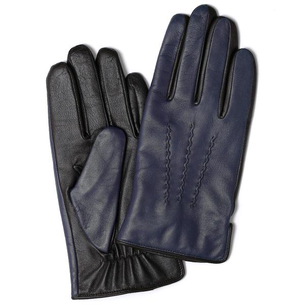 日本の老舗手袋メーカーKURODA(クロダ) 日本製 革手袋 ラムスキン(仔羊革) ブルー ネイビー 青色 メンズ 本革 男性 紳士用 手袋