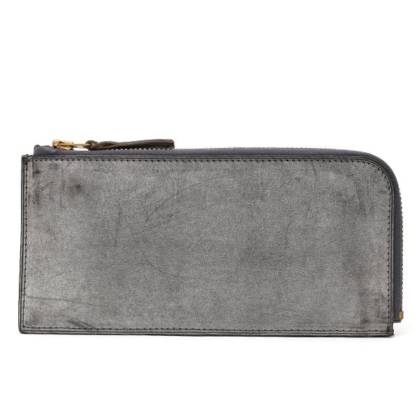 長財布 メンズ 本革 レザー ラウンドファスナー ダークグレーグレー グレイ 灰色 ねずみ色 小銭入れあり 薄型 薄まち コインケース トワクレ(Trois Clefs)