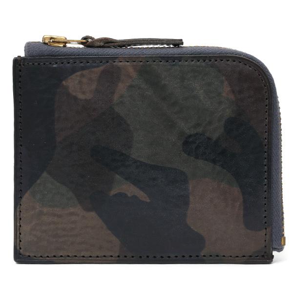 財布 ミニ 本革 レザー 迷彩柄 カモフラージュグリーン カーキ 緑色 サイフ 薄マチ メンズ 小銭入れ 二つ折り財布 コインケース トワクレ(Trois Clefs)