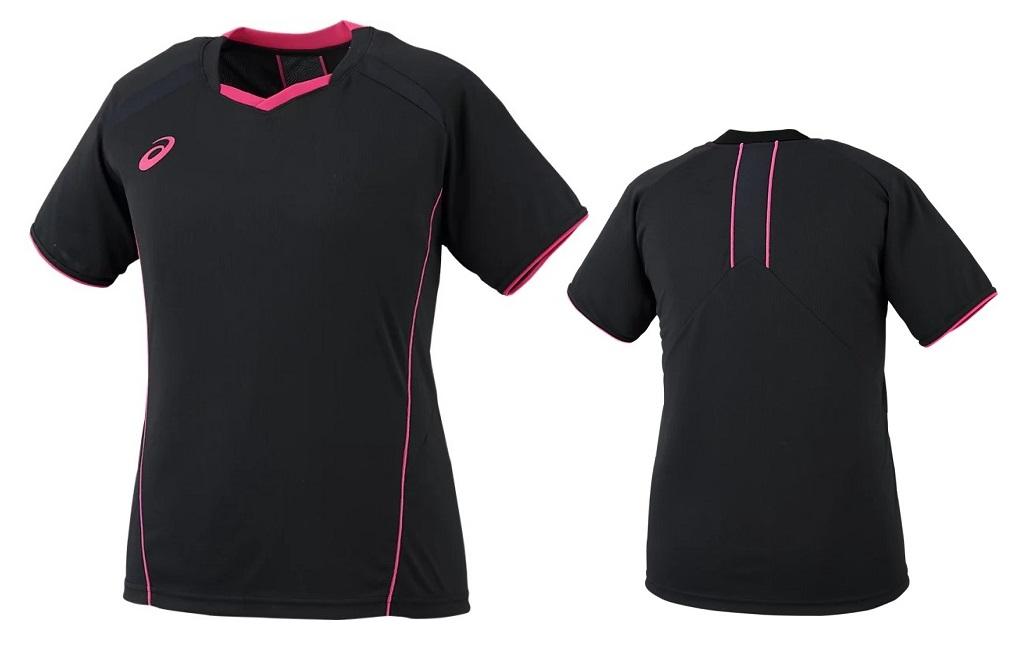 バレーボールウェア 女性用 練習着 アシックス asics 送料無料新品 バレーボール ウィメンズ 新作通販 XW6232-9031 プラクティスシャツ ブラック×Bローズ レディース tシャツ