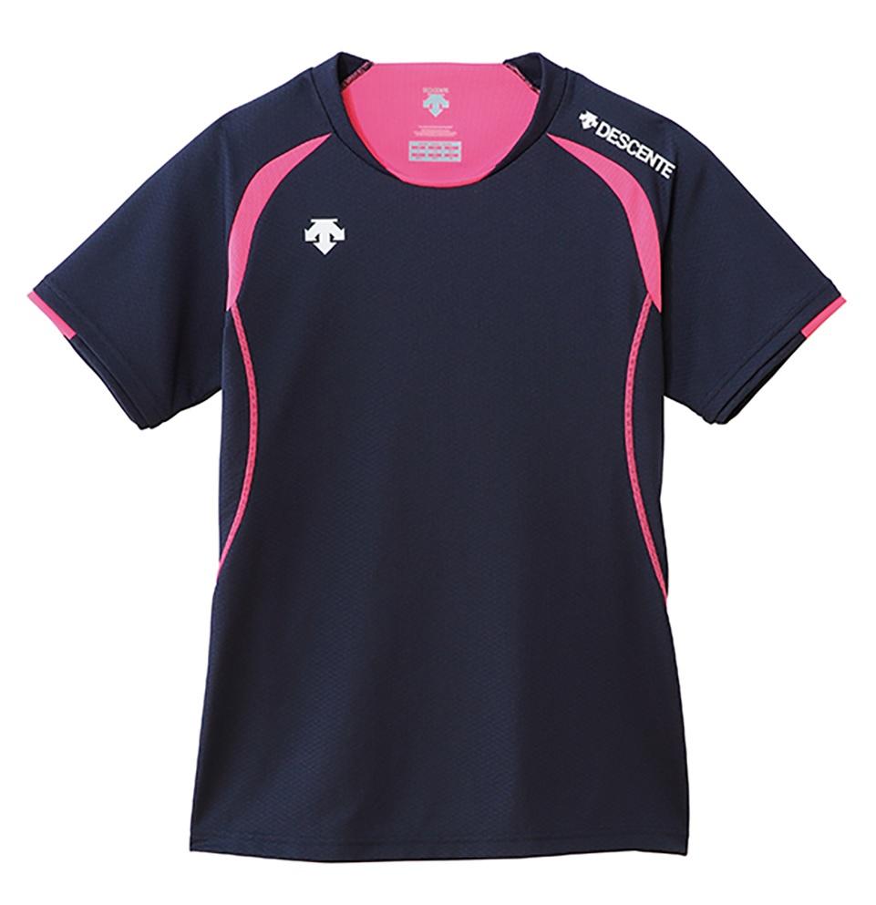 バレーボールウェア ウィメンズ 新作 人気 女性用 練習着 デサント バレーボール セール 登場から人気沸騰 半袖ライトゲームシャツ tシャツ DSS5421W-NVY ネイビー×Pピンク レディース