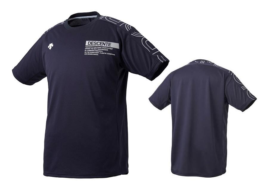 バレーボールウェア 予約 Tシャツ 練習着 デサント バレーボール 公式通販 半袖 メンズ プラクティスシャツ DVUQJA51-NVSV レディース ネイビー×シルバー