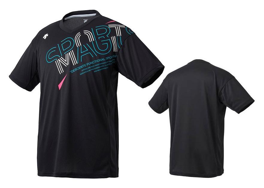 バレーボールウェア Tシャツ 練習着 デサント バレーボール 半袖 レディース メンズ 国内在庫 プラクティスシャツ ブラック ラッピング無料 DVUQJA52-BK