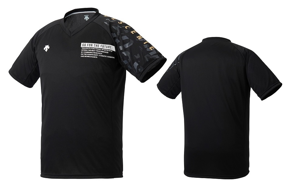 バレーボールウェア Tシャツ 練習着 デサント DESCENTE バレーボール プラクティスシャツ 期間限定で特別価格 レディース DVURJA54-BKGD ブラック×ゴールド 売れ筋 半袖 メンズ