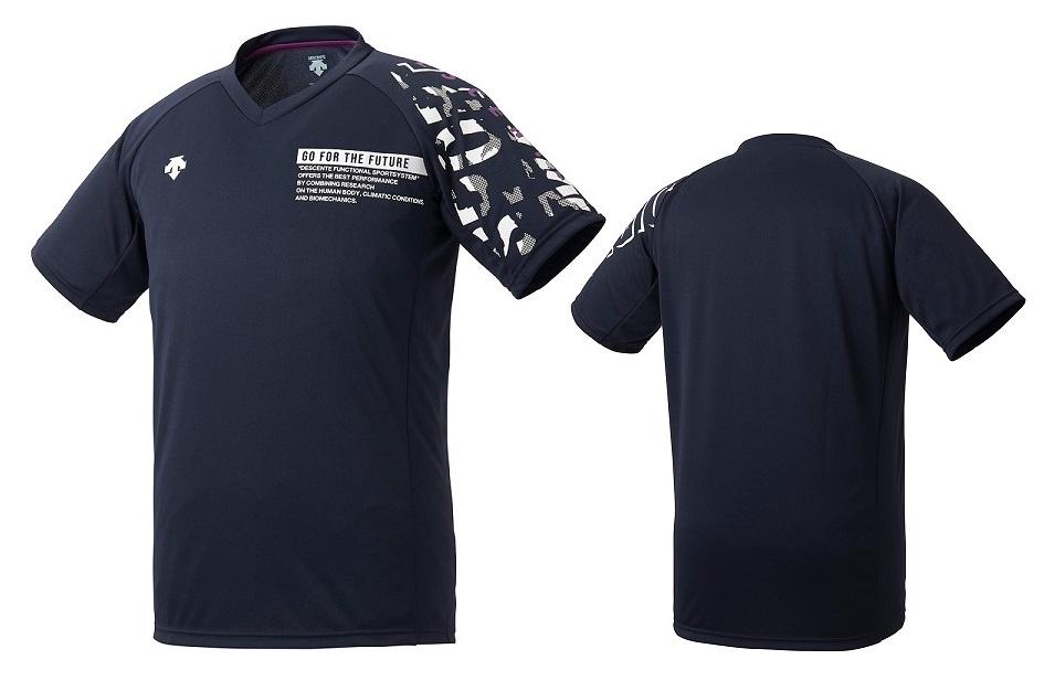 正規認証品!新規格 バレーボールウェア Tシャツ 練習着 デサント バレーボール 半袖 DVURJA54-NV レディース プラクティスシャツ メンズ ネイビー×パープル 年間定番