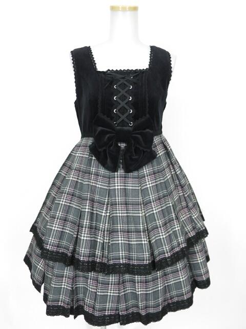 【中古】Angelic Pretty / ハイウエストタータンプリーツジャンパースカート アンジェリックプリティ B11508_1805