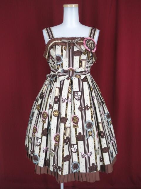 【中古】Angelic Pretty / Chocolate Rosetteジャンパースカート アンジェリックプリティ チョコレートロゼット B15668_1810