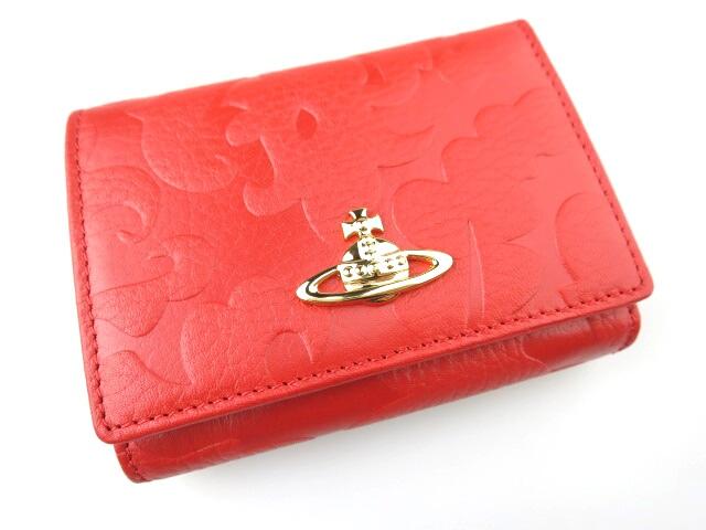 Vivienne Westwood / ホック式折り財布(がま口小銭入れ) 1311VX エンボス柄 ヴィヴィアンウエストウッド 赤 レッド B16871_1811