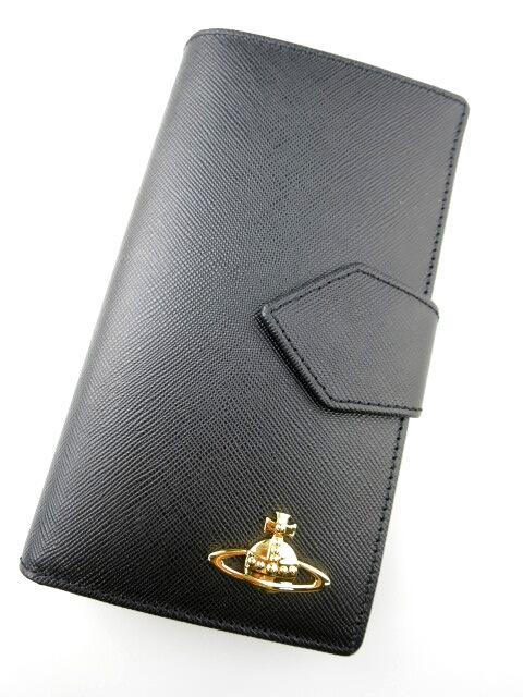 Vivienne Westwood / ミニ長財布 4733VW118 SAFFIANO ヴィヴィアンウエストウッド 黒 ブラック B16507_1901
