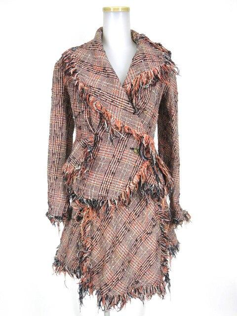 【中古】Vivienne Westwood / チェック柄ツイードフリンジジャケット&スカート セットアップ ヴィヴィアンウエストウッド スーツ B17684_1901