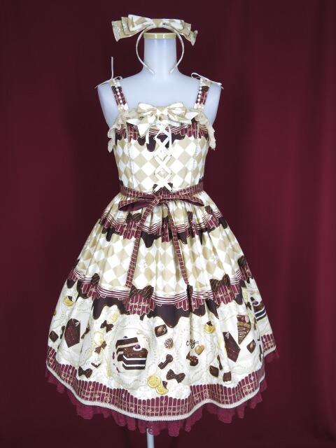 【中古】Angelic Pretty / Antique Chocolaterie ジャンパースカートset(JSK+カチューシャ) アンジェリックプリティ B22352_2004