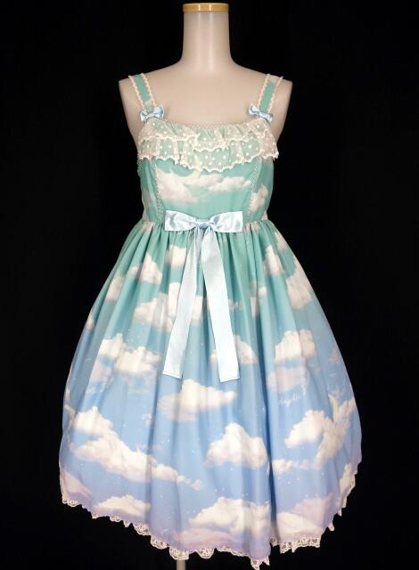 【中古】Angelic Pretty / Misty Sky Brilliant ColorジャンパースカートSet アンジェリックプリティ ミスティスカイ【代引不可】 B26081_2003