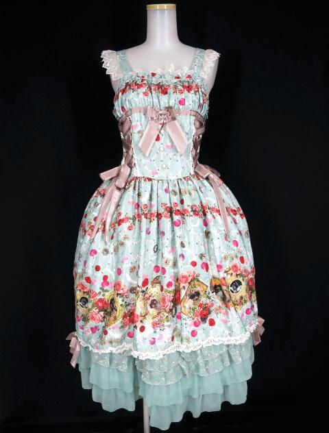 【中古】BABY, THE STARS SHINE BRIGHT / Lady Victorian Rose Jewelry~想いは薔薇の花びらの上に~柄ロングジャンパースカート&ヘッドドレス セット ベイビーザスターズシャインブライト B30940_2003