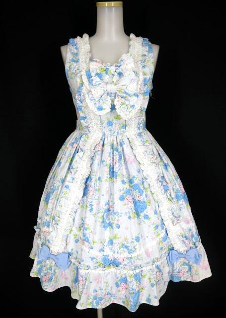 【中古】BABY, THE STARS SHINE BRIGHT / Versailles Rose Bouquet柄ロザリージャンパースカート&バレッタ&オーバーニーソックス セット ベイビーザスターズシャインブライト B31713_2004