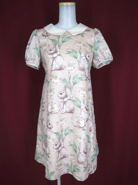 【中古】Leur Getter / Floral Rabbit 袖付ワンピース ルルゲッタ フローラルラビット うさぎ柄 B32943_2006