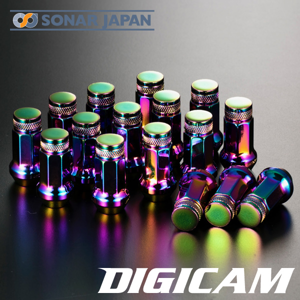 DIGICAM デジキャンクロモリレーシングナット16本セット 7角袋タイプ 45mm[オーロラカラー]