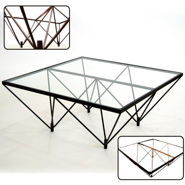 【送料無料(北海道・沖縄・離島は除く)】デザインが秀逸! ガラステーブル FT-35《机 テーブル リビングテーブル センターテーブル デザイン 幅80cm 正方形 店舗向け 完成品 日本製 国内製》