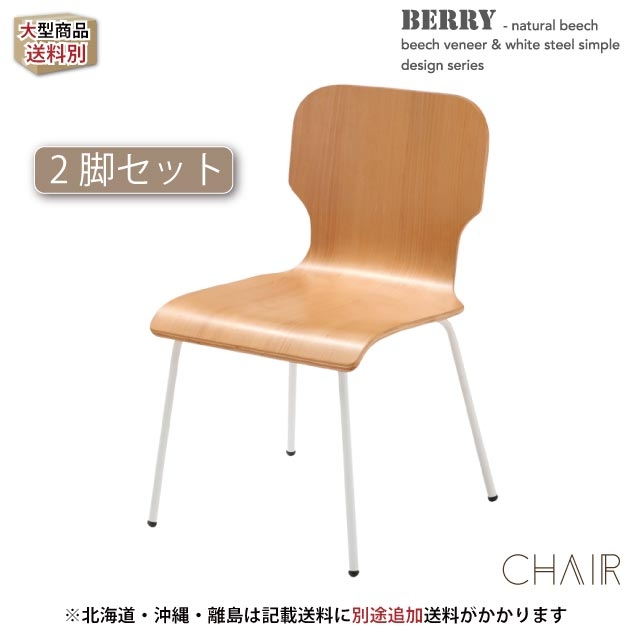 BERRY -natural beech veneer & white steel- ベリー チェア-2脚セット- TDC-9596 《椅子 イス いす カフェチェア ダイニングチェア 食卓イス 店舗 カフェ レストラン 飲食店 北欧 》