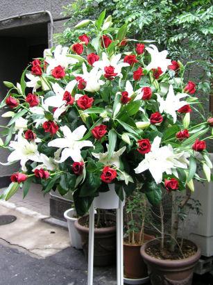 赤と白のスタンド花!(一段) 送料無料 smtb-s FGP527_10 FGP601_10 FGP610_10 FGP617_10 お中元 贈答