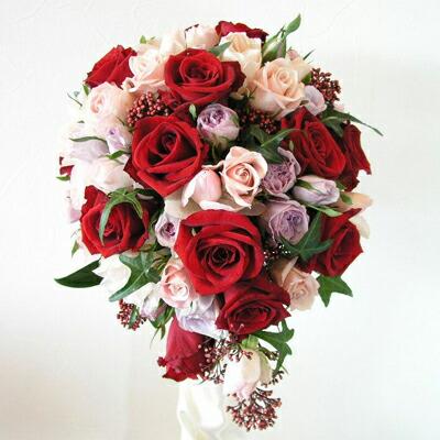 生花 ウェディングブーケ オーバル バラのティアドロップ(※ブートニア付き)銀座の花屋東京フラワー
