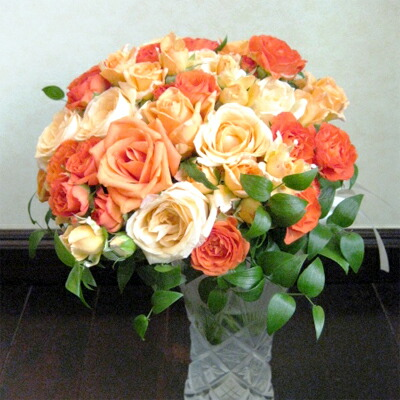 生花 ウェディングブーケ オレンジのクラッチブーケ(※ブートニア付き)銀座の花屋東京フラワー