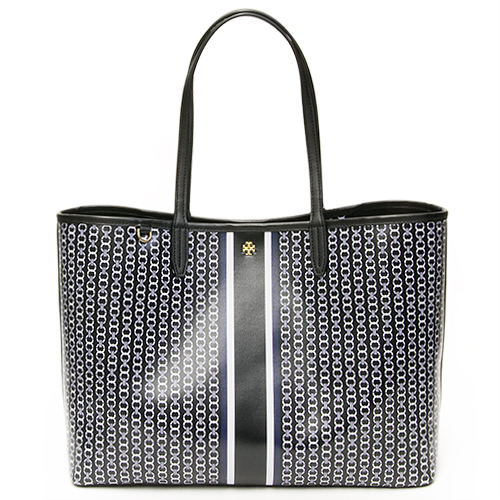 ea5be4e4df8 TORY BURCH Tolly Birch tote bag GEMINI LINK TOTE BLACK GEMINI LINK STRIPE  black 33801 883