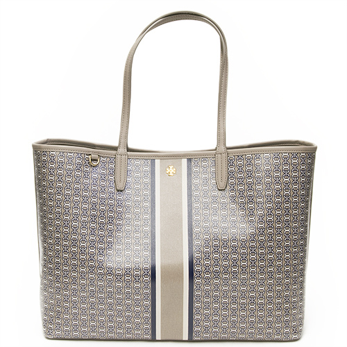 Tory Burch Tolly Birch Tote Bag Gemini Link French Gray Stripe 33801 048