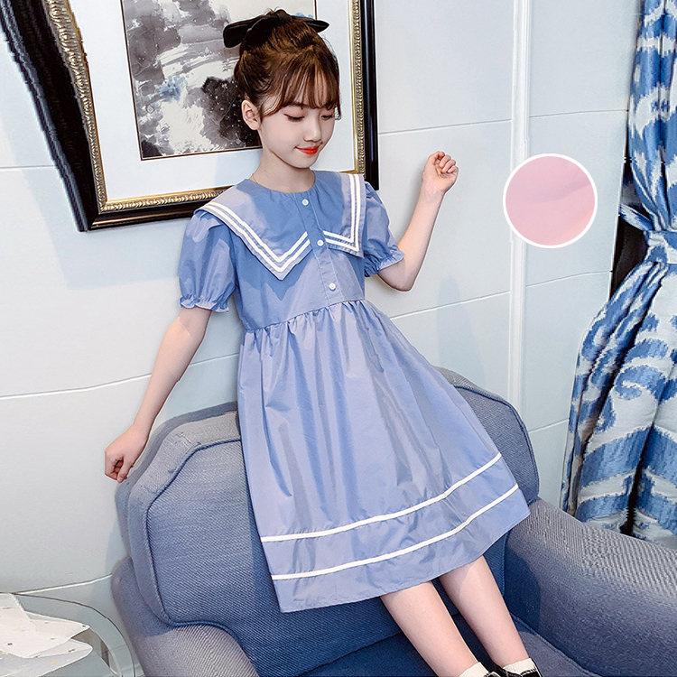 ワンピース 無料 キッズ 子供服 海軍の襟 Aライン 女の子 ドレス ファッション きれいめ お嬢様風 結婚式 入学式 発表会 TZ-864 お出かけ 学生 おしゃれ 女児 ブルー 110-170 パーティー アウトレットセール 特集 可愛い ピンク