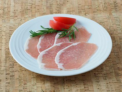 豚ロースをうす塩味に仕上げた生ハムです 塩はドイツ岩塩を使用しているので ソフトでみずみずしい味わい プレコフーズの生ハム 125g スライス 激安特価品 ロース 市場 61002