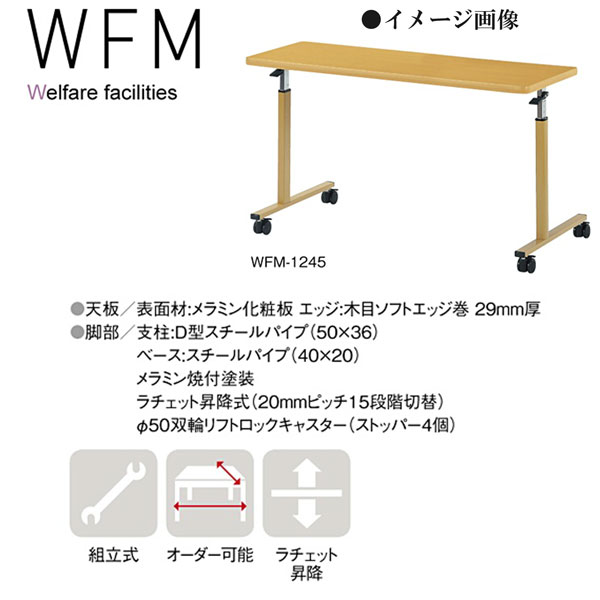 ニシキ WFM 福祉・医療施設用 オーバーベッドテーブル W1200 D450 H640-H940 WFM-1245