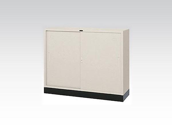 東洋事務器工業(TOYO) スチール書庫 引き違い スチール戸 W1200×D400×H880 キャビネット ニューグレー 43SS-TNG