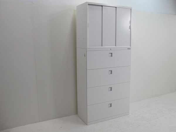 【セット商品】オカムラ レクトライン スタンダードタイプ 3枚引違い書庫+ラテラルキャビネット 4段 ホワイト