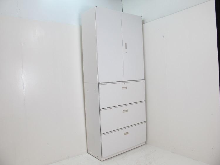 【セット商品】イトーキ シンラインキャビネット 400シリーズ(A4横対応) 両開き扉型+引出し型 ホワイト
