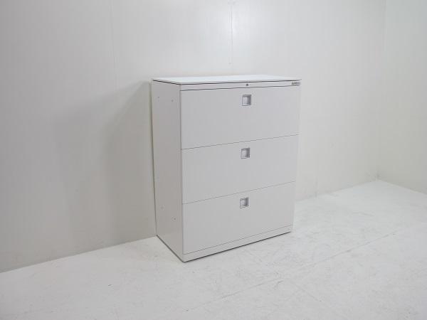 オカムラ レクトライン スタンダードタイプ ラテラルキャビネット3段 ベース一体型 天板付 ホワイト 900W 450D 1100H