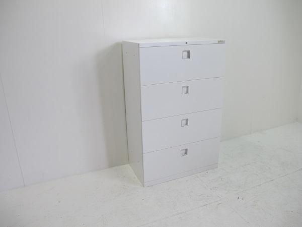 オカムラ レクトライン スタンダードタイプ ラテラルキャビネット4段 ベース一体型 ホワイト
