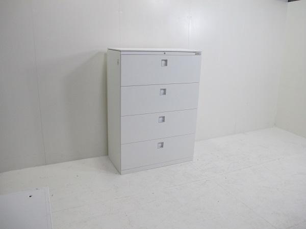 オカムラ レクトライン スタンダードタイプ ラテラルキャビネット4段 ベース一体型 天板付 ホワイト 900W 450D 1250H