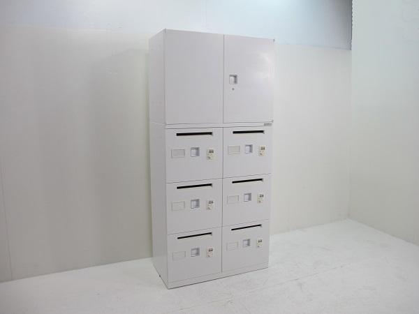 【セット商品】オカムラ レクトライン スタンダードタイプ 両開き書庫+6人用ロッカー ホワイト