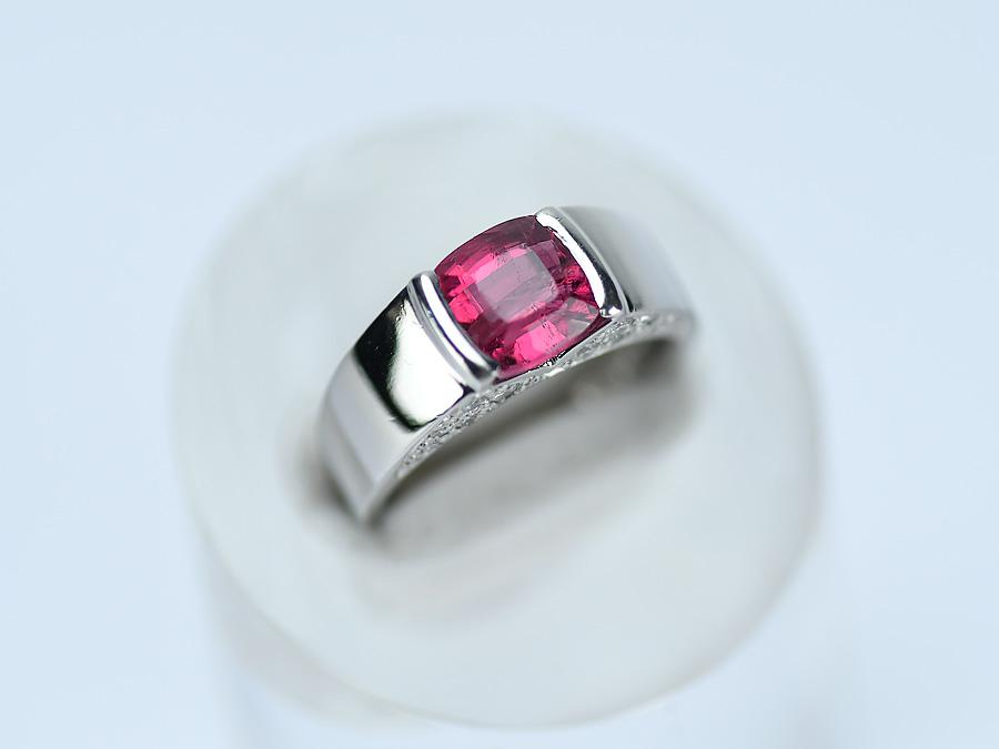 Pt900 ファッションリング ピンクトルマリン 2.66ct ダイヤモンド 0.34ct サイズ14.5号 【中古】 プラチナリング デザインリング レディースリング 研磨仕上げ済