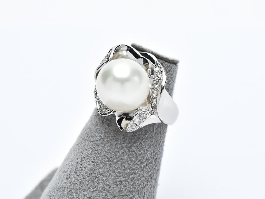 Pt900 ファッションリング 大粒 パール ダイヤモンド 0.29ct プラチナ サイズ7号 真珠 ジュエリー レディース アクセサリー ダイア 指輪 【中古】