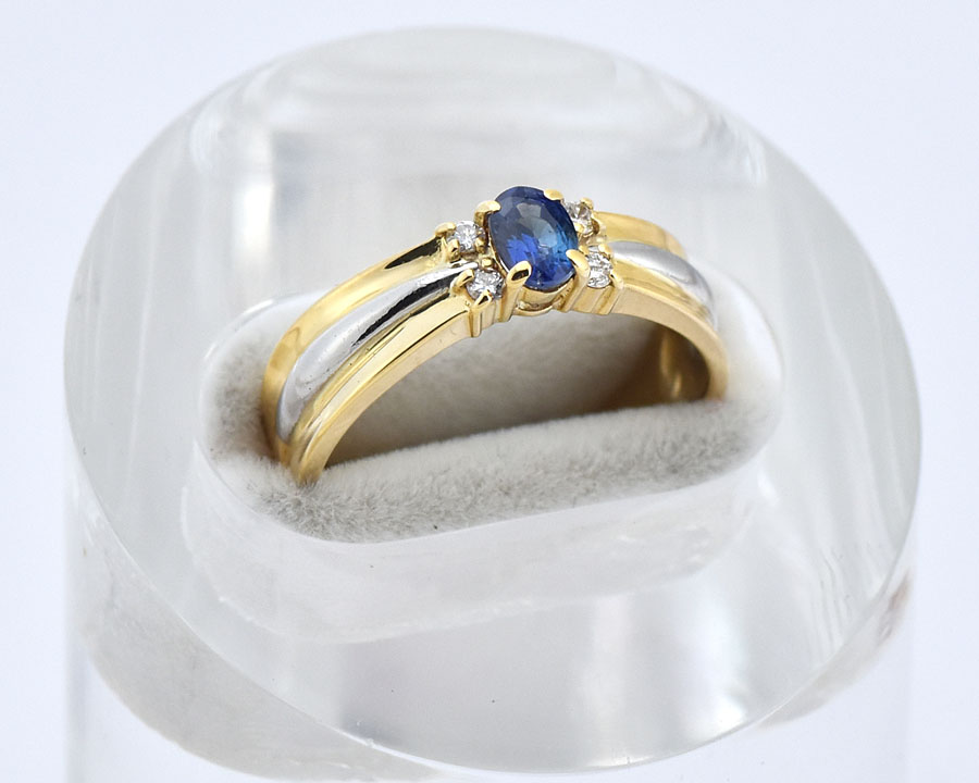 K18YG Pt900 ファッションリング サファイヤ ダイヤモンド S0.42ct D0.07ct サイズ10.5号 イエローゴールド プラチナ デザインリング 研磨仕上げ済 【中古】